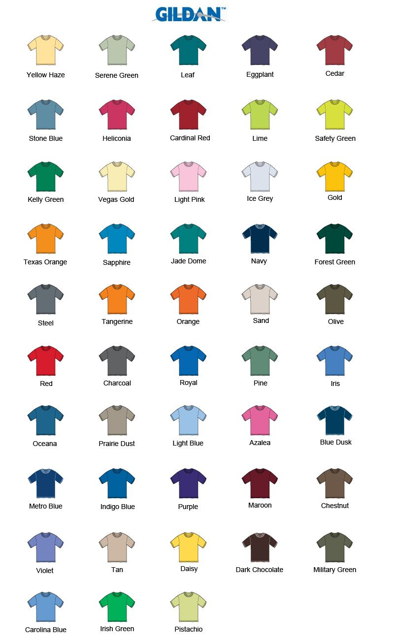 Gildan TShirt Color Chart
