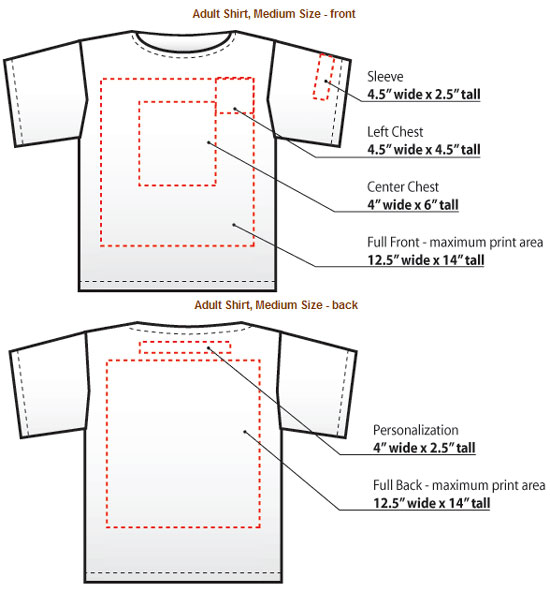 TShirt Print Locations