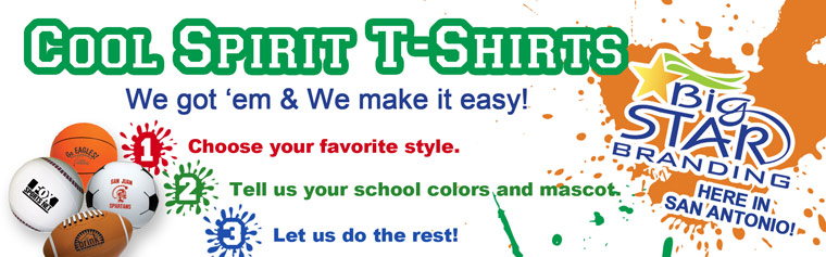 Cool Spirit T-Shirts! We got'em and We make it Easy! 1. Choose your favorite style. 2. Tell us your mascot colors. 3. Let us do the rest!