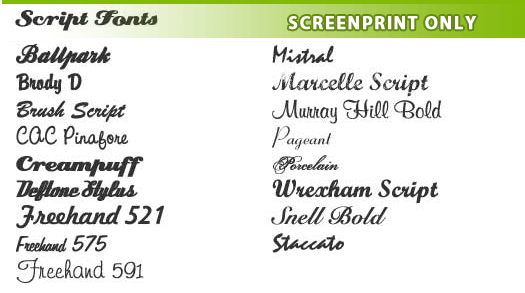 Screen Printing Fonts